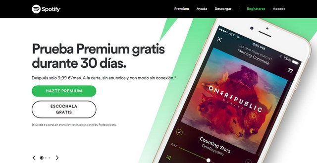 Landing page of Spotify